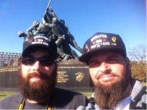 Veterans Chris Liby and Jason McGowan visit the Iwo Jima Memorial in Washington on Nov. 11, 2013. (KTAR Photo/Holliday Moore)