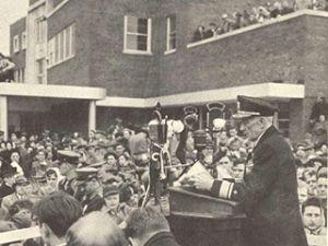 Admiral Byrd at 1950 dedication of new terminal*