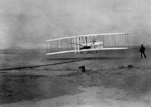The Wright Brothers First Flight in 1903.  Photo courtesy of nps.gov
