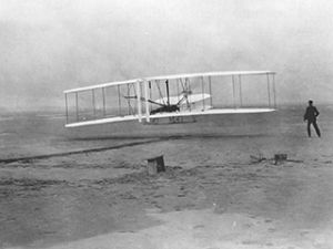 Orville at the controls, December 17, 1903.
