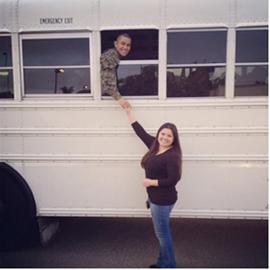 Laura Avelar bids her husband farewell on the day of his deployment. John Avelar has served in the Marine Corps for six years, and the two have known each other since they were 16.