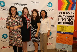 Pictured above are the Smithsonian Institution staff Christina DiMeglio Lopez, Elizabeth Bugbee, Caroline Mah, Gina Inocencio at the premier screening for Young Historians, Living Histories during CAAMFest 2014, San Francisco, CA.