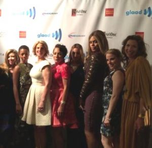 Sarah Kate Ellis with the cast of Orange is the New Black at the GLAAD Media Awards.