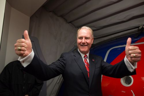 Southwest Chairman & CEO Gary Kelly giving the thumbs up as our first nonstop flight out of Dallas prepares to push for Denver.