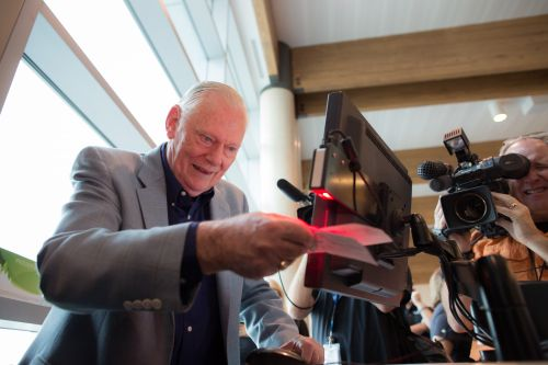 Southwest Airlines founder Herb Kelleher celebrates the  end of the Wright Amendment at Dallas Love Field. The Wright Amendment ended on Monday, Oct. 13 2014, allowing non-stop flights to anywhere in the U.S. from Dallas Love Field. / Stephen M. Keller, 2014