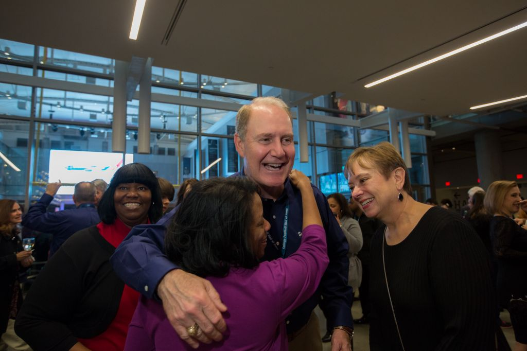 Southwest Airlines Chairman, President and CEO Gary Kelly talks with Employees at a Company celebration at the College Football Hall of Fame. // Stephen M. Keller