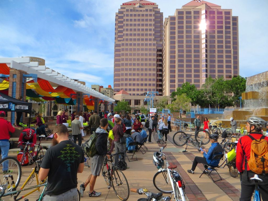 bike event on civic plaza