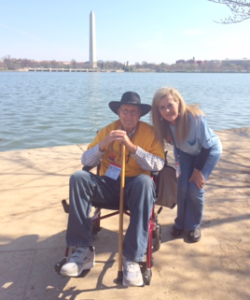Michelle and a WWII Vet during a March Honor Flight trip.