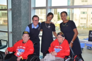 (With Flight Attendants L-R Brannan Hetzler, Angela Koblitz, and Sabrina Edge)