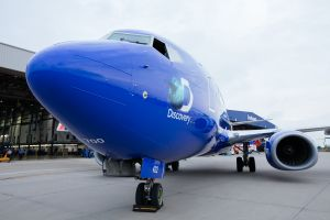 Southwest Airlines teams up with Discovery Channel to celebrate Shark Week. // Stephen M. Keller