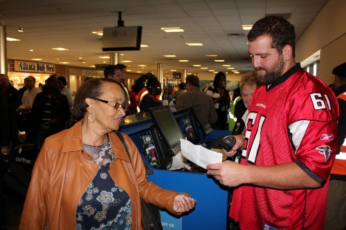 Falcons Trading Places at Gate