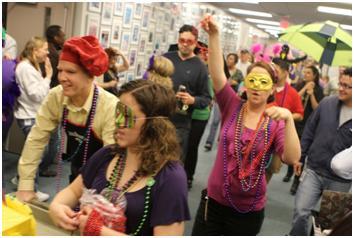 Mardi Gras in HDQ Hallways