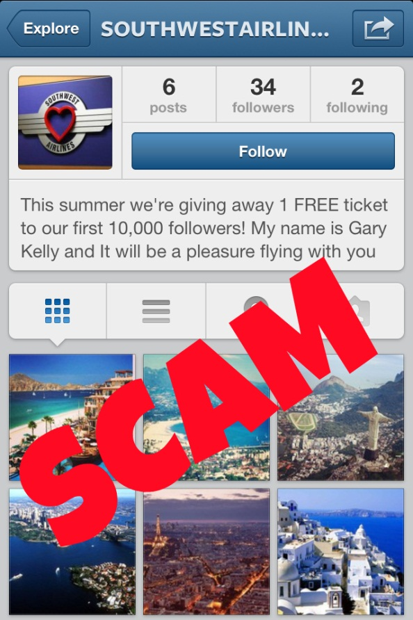 Southwest Airlines Instagram Scam