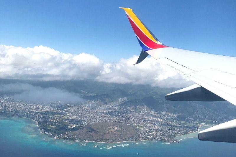 Southwest Hawaii Flight Review - Diamond Head Views from Plane.jpg