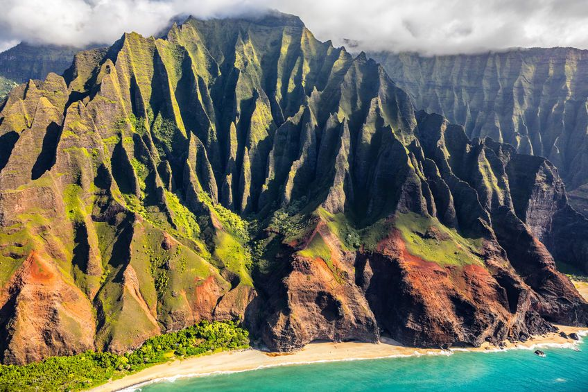 Na Pali coast, Kauai, Hawaii helicopter aerial view. Nature coastline landscape in Kauai island, Hawaii, USA. Hawaii travel.