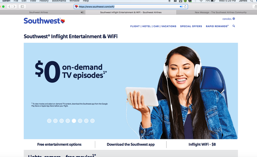 pic 2, once I buy wifi, only this page will load w no option to connect to live entertainment??