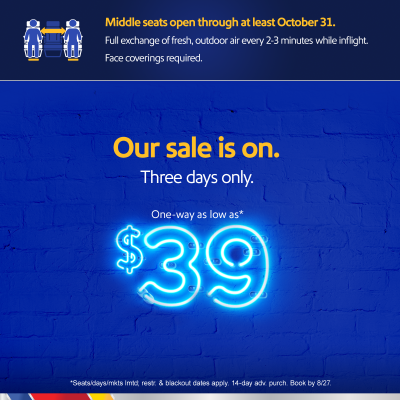 Three Days of WOW! Southwest Airlines Announces Three-Day $39 Wow Sale for Your Next Adventure