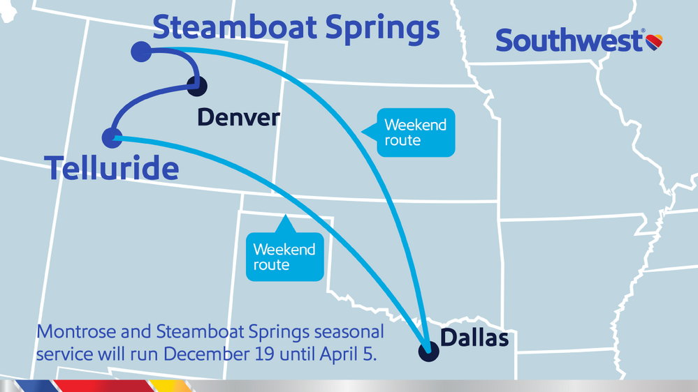 Southwest Airlines announces new service to Montrose (Telluride), CO. Flights to Montrose, as well as previously announced service to Steamboat Springs (Hayden), CO, beginning Dec. 19, 2020