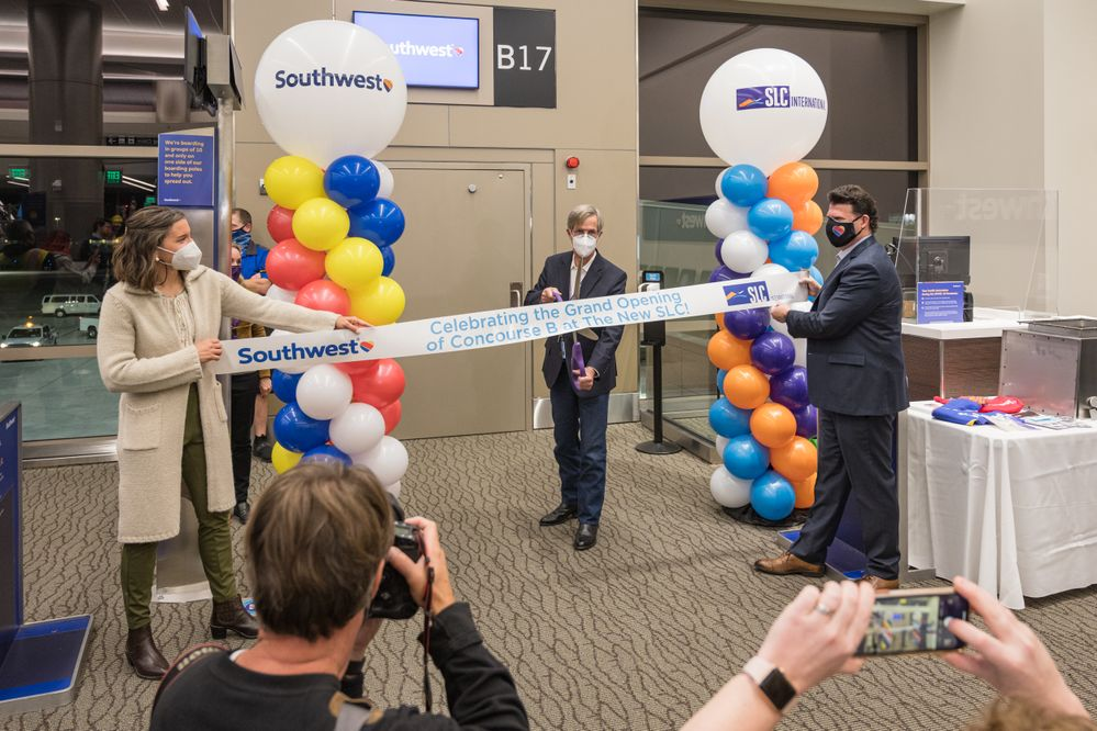 Salt Lake City Opens Concourse B at The New SLC International Airport as the first Southwest Airlines flight departs from the new concourse. (L-R: Salt Lake City Mayor Erin Mendenhall, SLC Director of Airports Bill Wyatt, SWA's Managing Director of Airport Affairs Steve Sisneros) Source: SLC