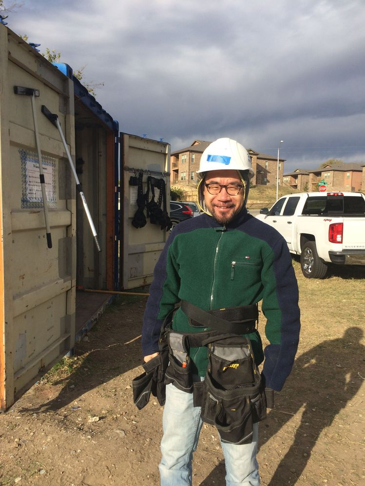 Lin enjoys giving back to the community. This photo was taken at a Habitat for Humanity volunteering event back in 2017.