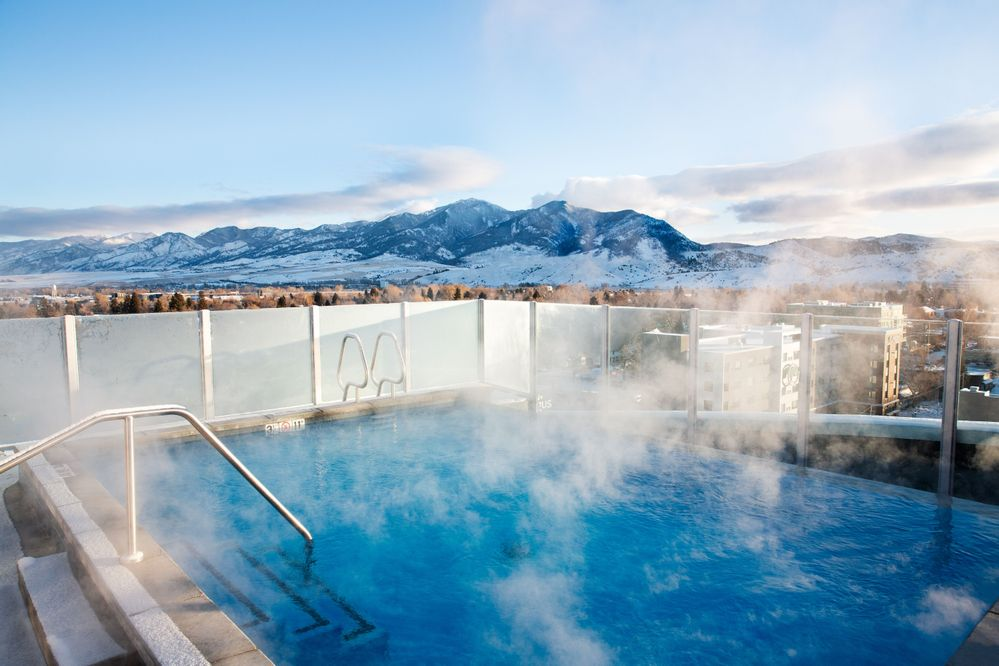 Sky Shed pool view in Bozeman, Montana, photo by Sky Shed