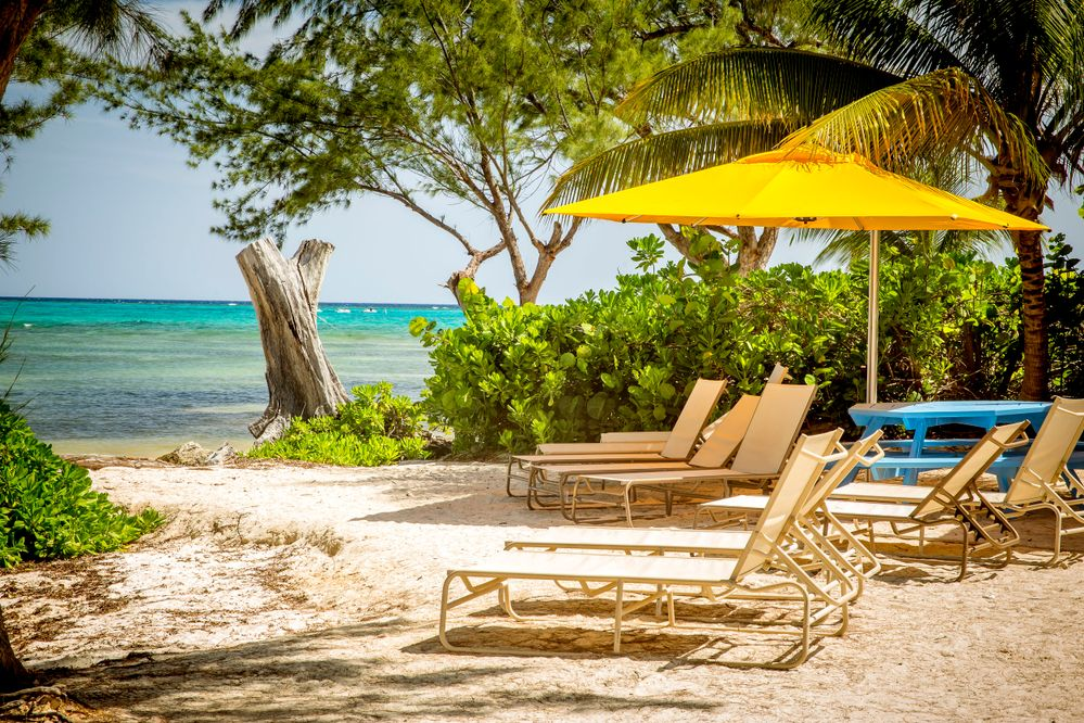 Beach in Rum Point on Grand Cayman island
