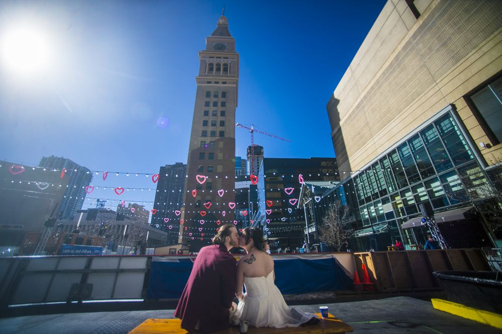 Mallory and Landon were married on February 14th at the Southwest Rink at Skyline Park in downtown Denver.