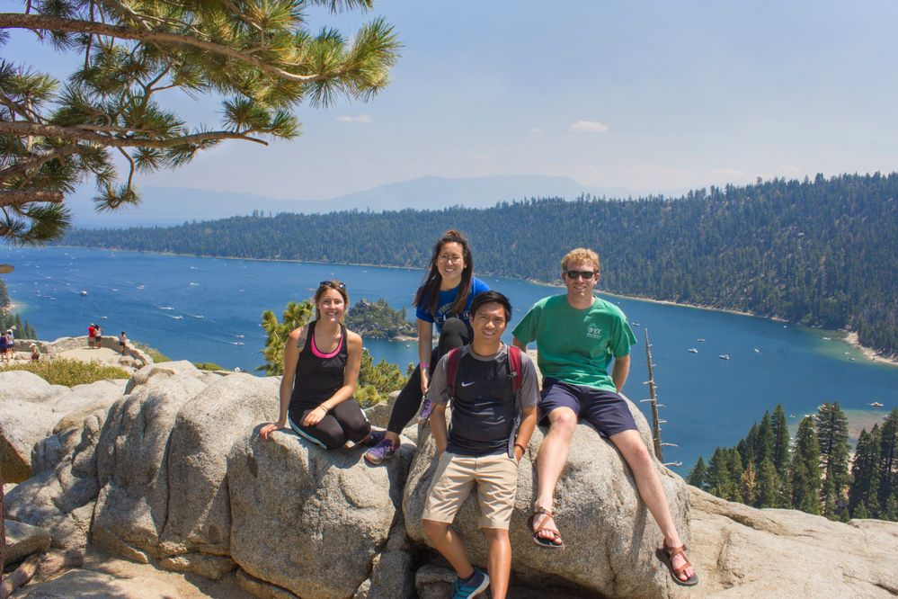 Myself (far left) and three other Southwest interns on a weekend trip to Lake Tahoe.