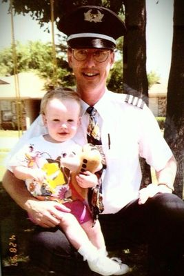 Mackenzie Odom and her dad before his first trip as a SWA First Officer with TJ LUV stuffed airplane