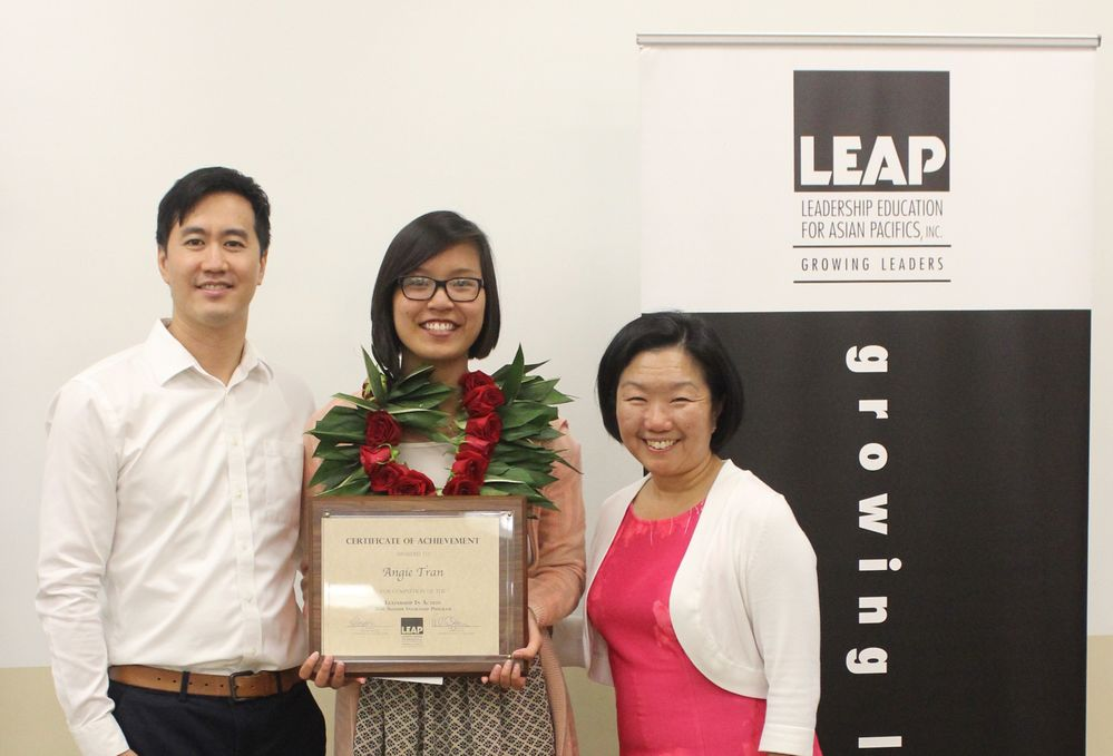 From Left to Right:  Steve Lin (LEAP Program Manager), Angie Tran, Linda Akutagawa (LEAP President & CEO)