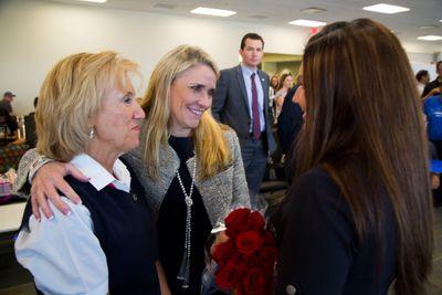 Southwest CFO Tammy Romo celebrates the launch of Southwest's CVG service with local Employees.