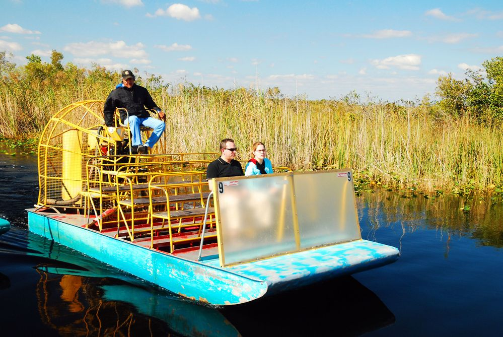 A Fan Boat Prepares to take Visitors on a Tour of the Florida Everglades