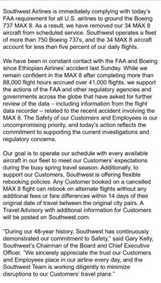 Southwest Statement on grounding of MAX8 aircraft