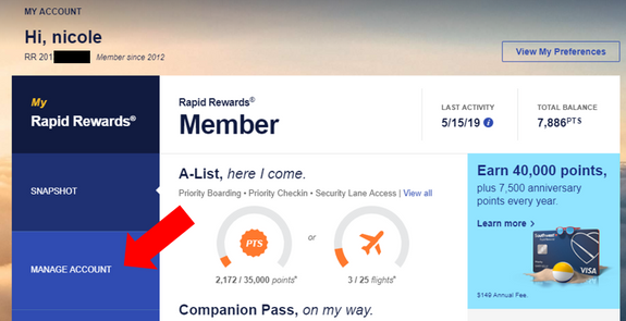 How to add rapid rewards for past flights