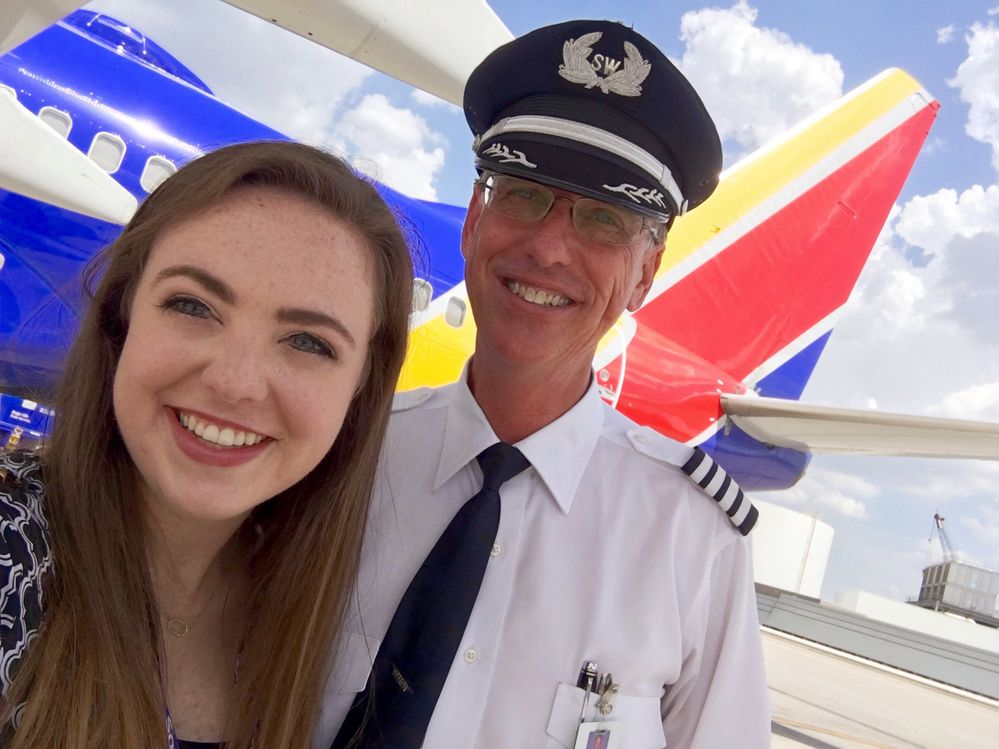Mackenzie Odom and her dad, Captain Kyle Odom, during her internship