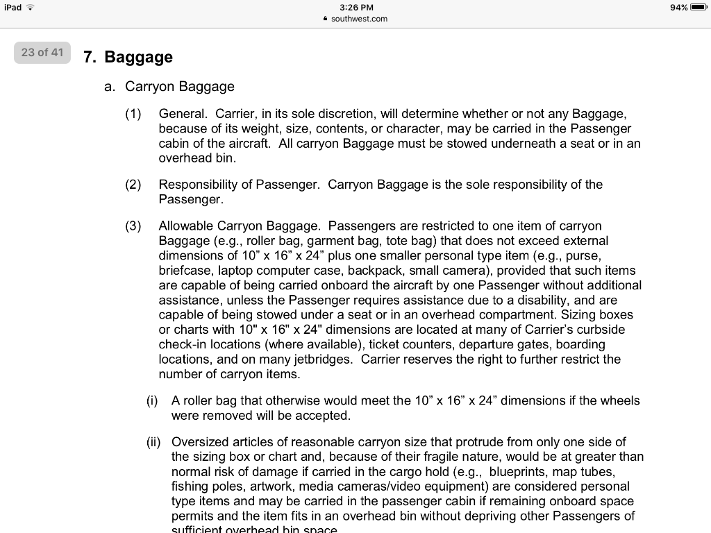 39101cff544 Solved  Small personal item clarification - The Southwest Airlines Community
