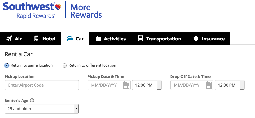 Rent A Car With Southwest Rapid Rewards