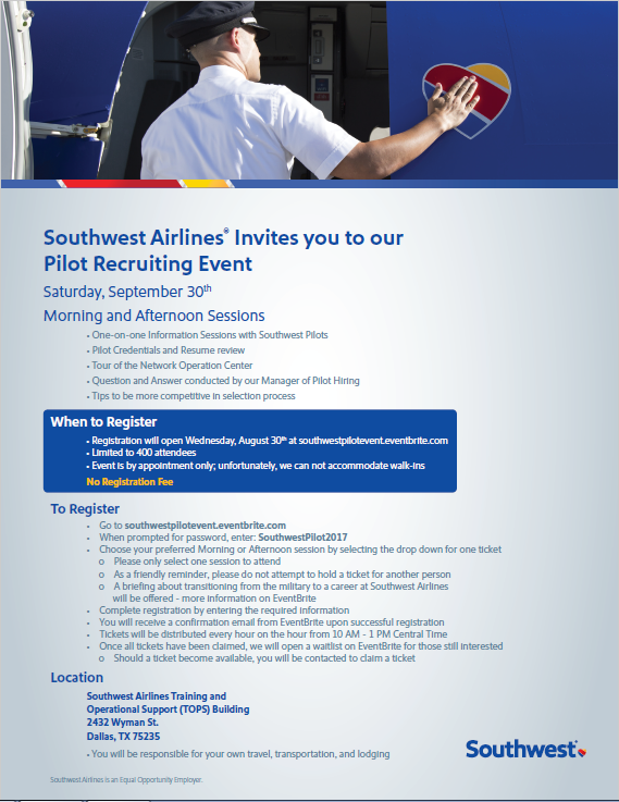 Pilot Recruiting Event Information The Southwest
