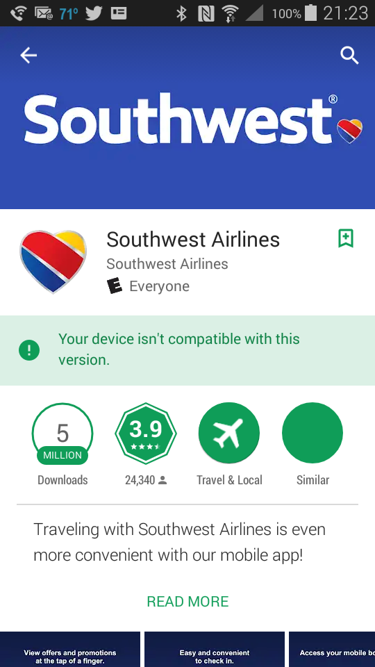 Solved: New Southwest App incompatible with my device - The