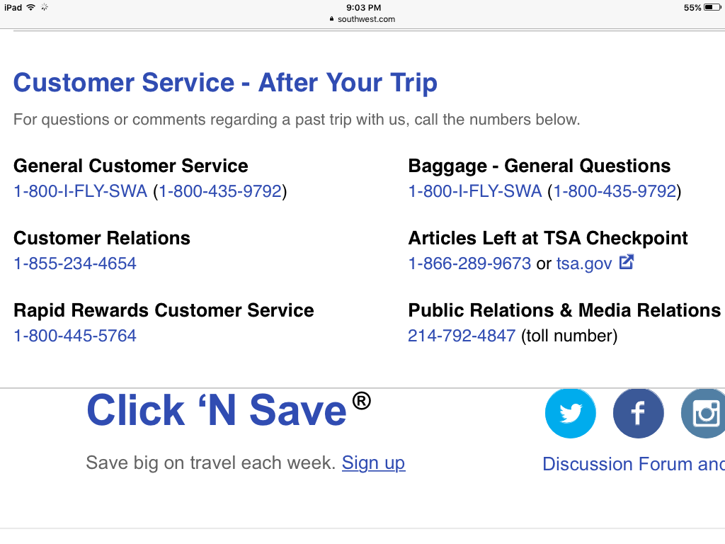 Solved: Contacting Customer Service - The Southwest Airlines Community