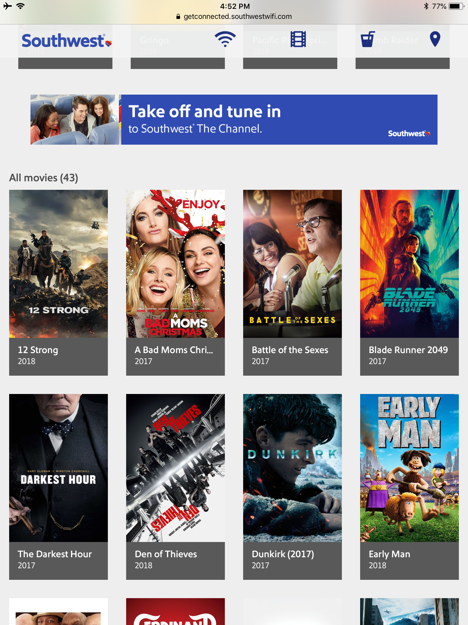 apps to watch movies on southwest