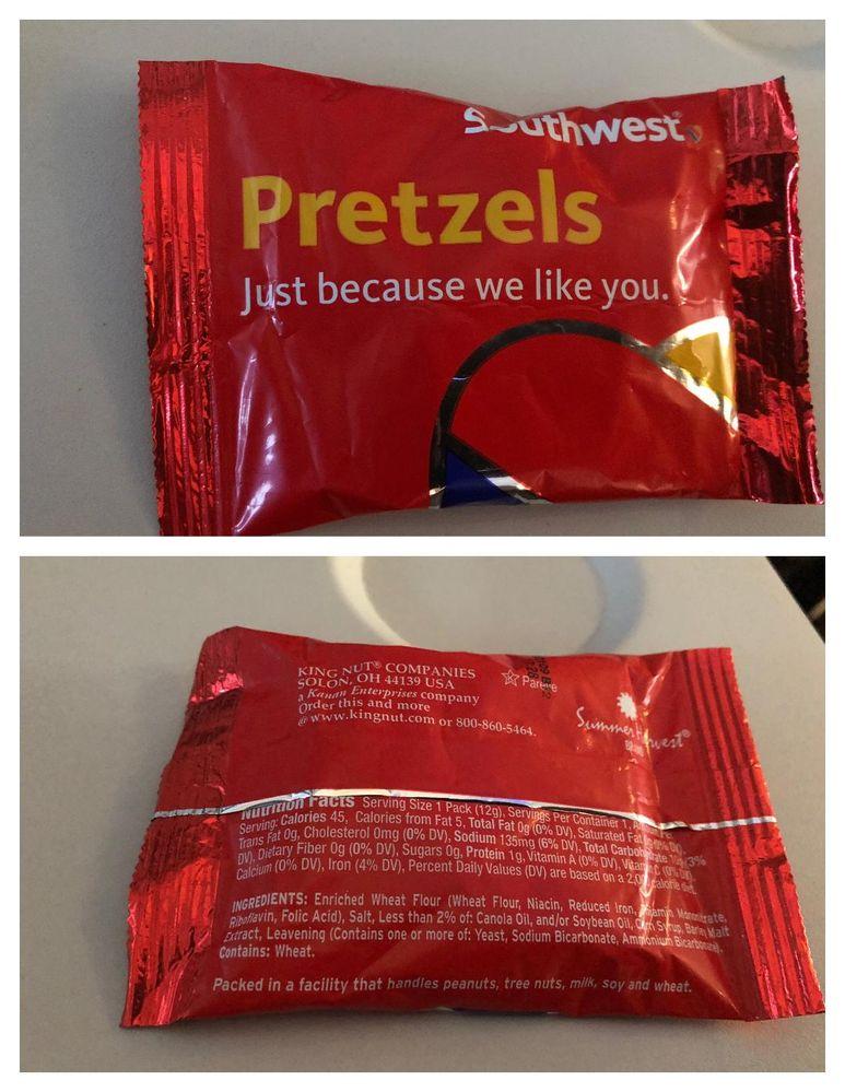 pretzels on flight 7/23/18